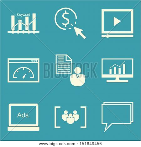 Set Of Seo, Marketing And Advertising Icons On Video Advertising, Comprehensive Analytics, Keyword R