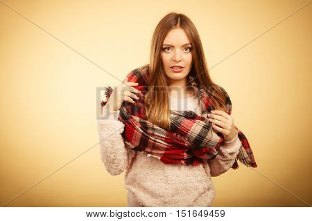 Beautiful Model With Winter Clothes.