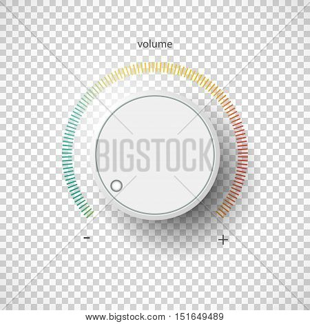 Realistic metal control panel tumbler. Music audio sound volume knob button minimum maximum level. Rotate switch interface stereo tuner. Design element Vector illustration eps10