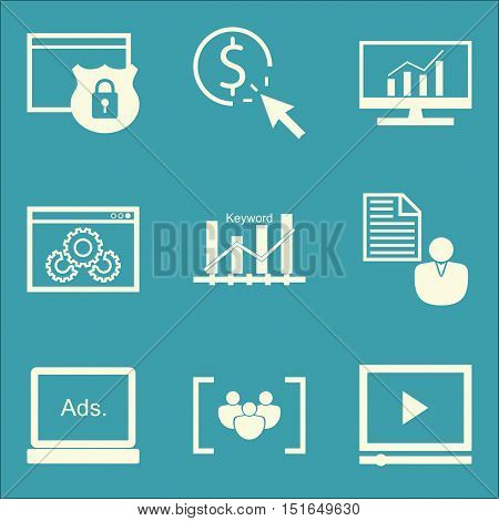 Set Of Seo, Marketing And Advertising Icons On Display Advertising, Video Advertising, Comprehensive