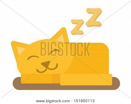 Cute cat sleeping domestic young adorable kitten cartoon vector illustration. Relax cat sleeping pet. Orange funny cat sleeping domestic pet.