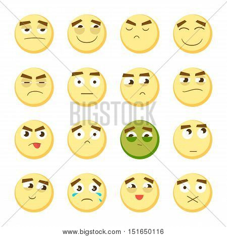 Yellow emoticon set. Collection of Emoji. 3d emoticons. Smiley face icons isolated on white background. Vector eps10