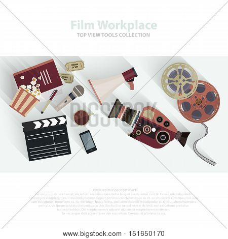 Movie clapper and film reel. Film strip and tickets. Cinema attributes in flat style design. Film crew, movie equipment, film camera, video equipment. Vector EPS10