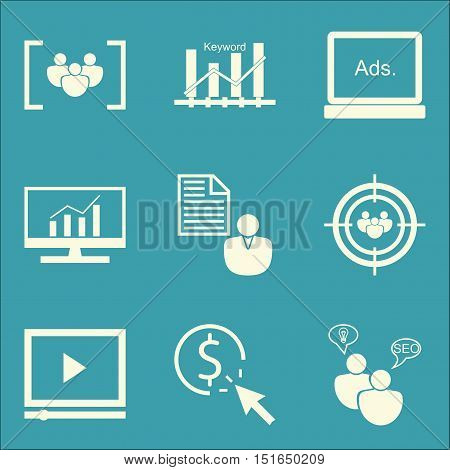 Set Of Seo, Marketing And Advertising Icons On Audience Targeting, Display Advertising, Client Brief