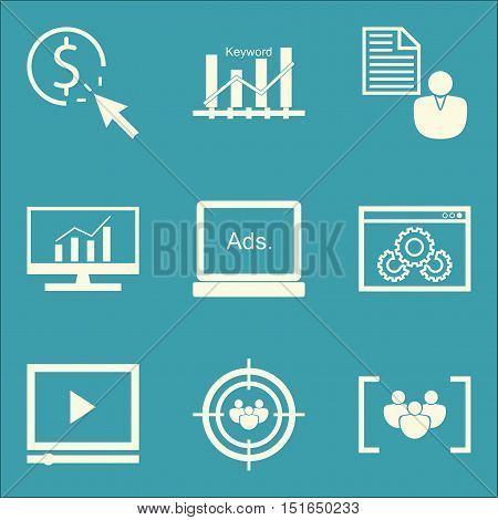 Set Of Seo, Marketing And Advertising Icons On Pay Per Click, Video Advertising, Client Brief And Mo