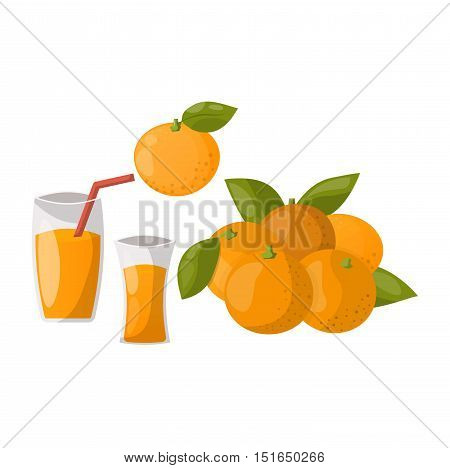 Ripe orange products fruits and slices with leaf isolated on white background. Realistic orange products vector illustration. Citrus natural orange products vitamin fresh juice dessert sweet food.