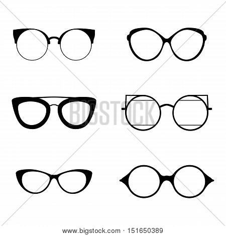 Retro collection of 6 various glasses. Sunglasses black silhouettes. Eye glasses set. Vector illustration EPS10