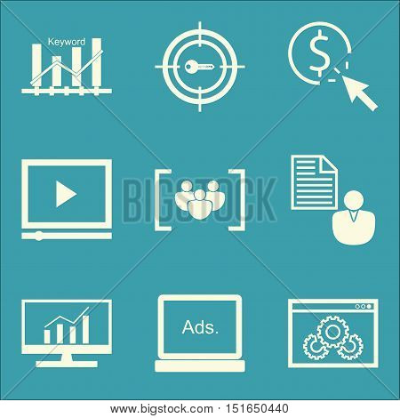 Set Of Seo, Marketing And Advertising Icons On Display Advertising, Target Keywords, Comprehensive A