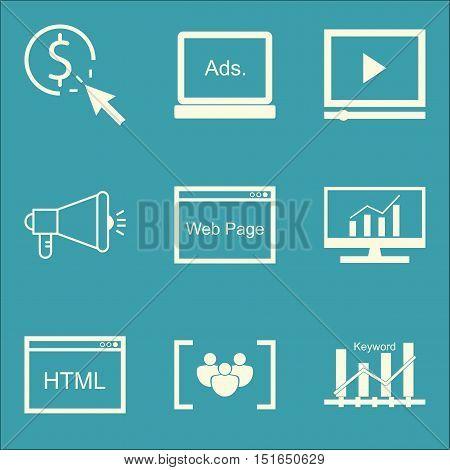 Set Of Seo, Marketing And Advertising Icons On Comprehensive Analytics, Display Advertising, Keyword