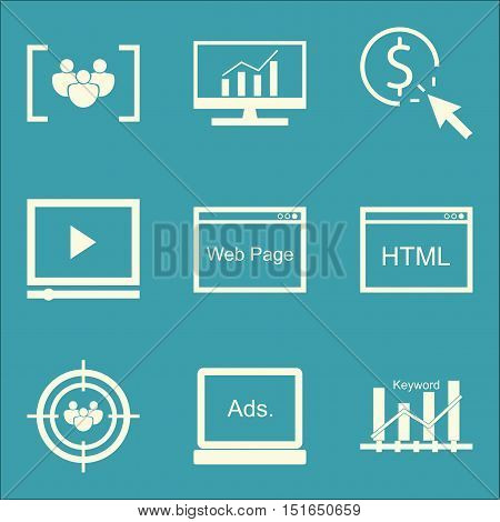 Set Of Seo, Marketing And Advertising Icons On Html Code, Pay Per Click, Focus Group And More. Premi