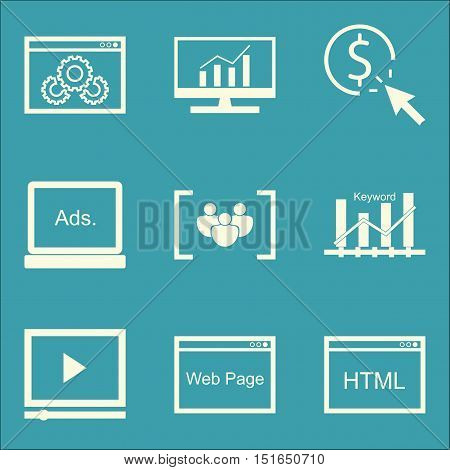 Set Of Seo, Marketing And Advertising Icons On Html Code, Website Optimization, Display Advertising