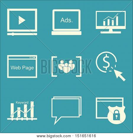 Set Of Seo, Marketing And Advertising Icons On Focus Group, Display Advertising, Comprehensive Analy