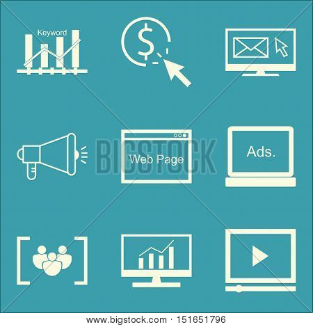 Set Of Seo, Marketing And Advertising Icons On Email Marketing, Comprehensive Analytics, Viral Marke