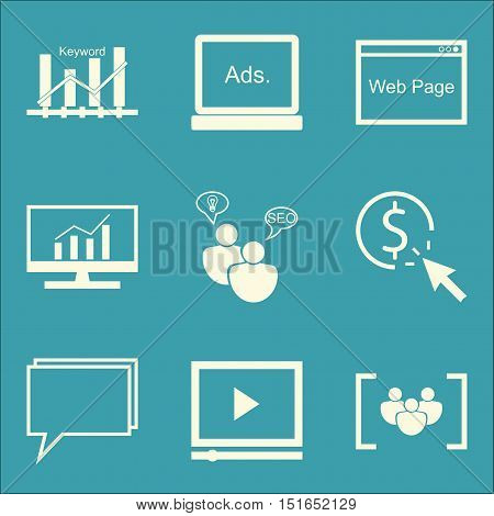 Set Of Seo, Marketing And Advertising Icons On Online Consulting, Display Advertising, Comprehensive