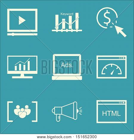 Set Of Seo, Marketing And Advertising Icons On Comprehensive Analytics, Html Code, Video Advertising