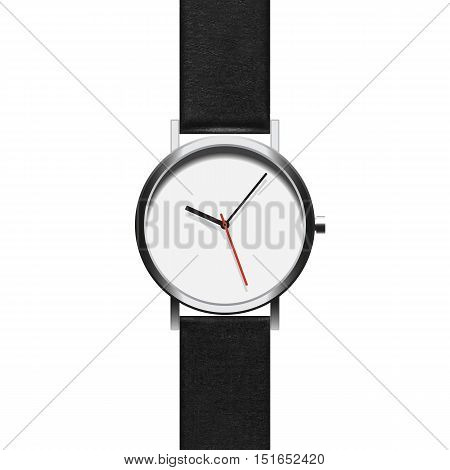 Black analog wristwatch in a steel frame with arrows on a white background. The object isolated to copy pasting. Vector EPS 10
