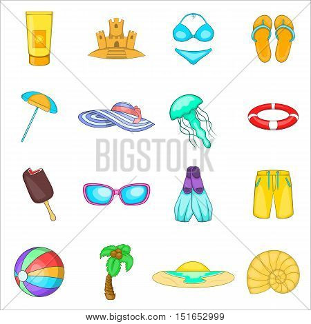 Sea tour icons set. Cartoon illustration of 16 sea tour vector icons for web