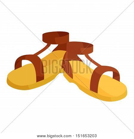 Pair of brown sandals icon. Cartoon illustration of pair of sandals vector icon for web