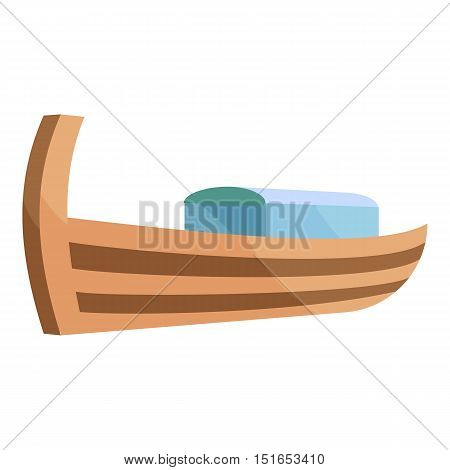 Wooden boat icon. Cartoon illustration of boat vector icon for web