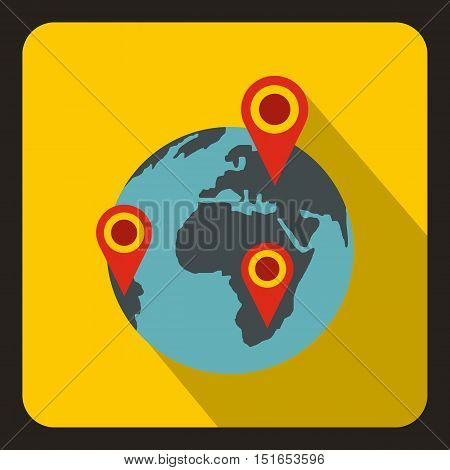 Globe earth with pointer marks icon. Flat illustration of globe and pointer marks vector icon for web