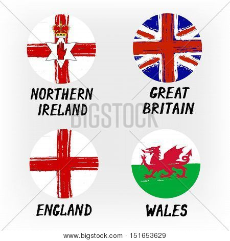 Set Of 4 Flags - Round Icons - Northern Ireland Great Britain England Wales