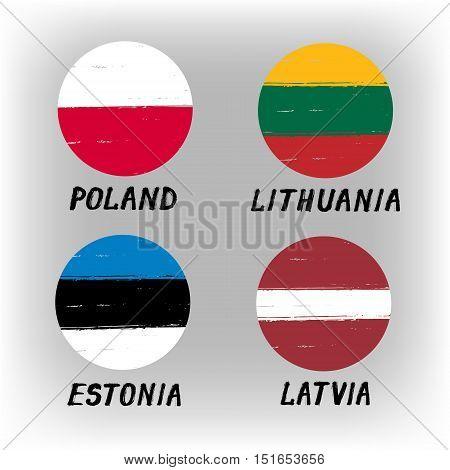 Set Of 4 Flags - Round Icons - Poland Lithuania Estonia Latvia