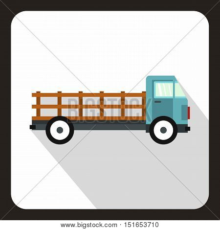 Cargo truck icon. Flat illustration of cargo truck vector icon for web