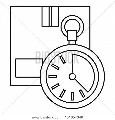 Closed box and stopwatch icon. Outline illustration of closed box and stopwatch vector icon for web