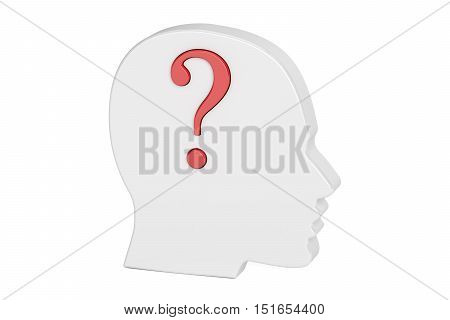 Question concept. Human head with question mark. 3D rendering isolated on white background