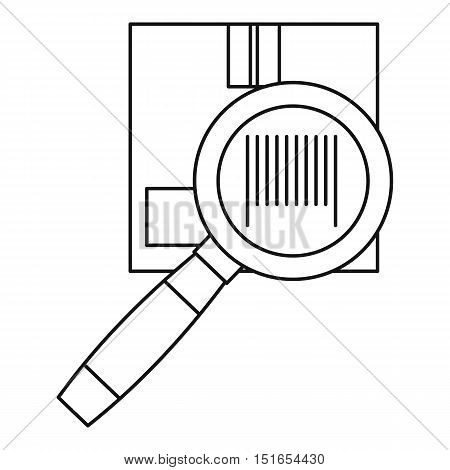Cardboard box and magnifying glass icon. Outline illustration of box and magnifying glass vector icon for web
