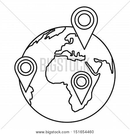 Globe earth with pointer marks icon. Outline illustration of globe and pointer marks vector icon for web