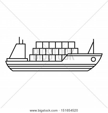 Ship with cargo icon. Outline illustration of cargo ship vector icon for web