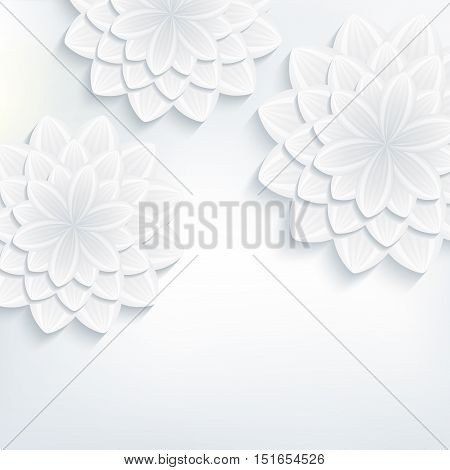 Floral trendy background with white and grey stylized 3d flowers chrysanthemum cutting paper. Vector illustration