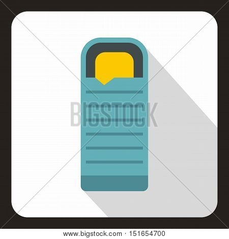 Blue sleeping bag icon. Flat illustration of sleeping bag vector icon for web