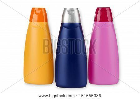 Bottle of Hair Shampoo or Shower Gel isolated on white Background