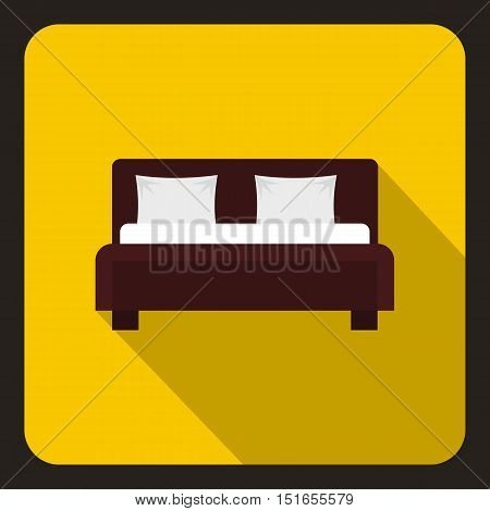 Brown double bed icon. Flat illustration of double bed vector icon for web