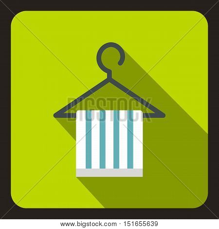 Striped scarf on coat hanger icon. Flat illustration of scarf on coat hanger vector icon for web