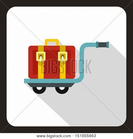 Red suitcase on a cart icon. Flat illustration of suitcase on a cart vector icon for web
