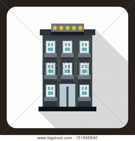 Hotel building icon. Flat illustration of hotel building vector icon for web