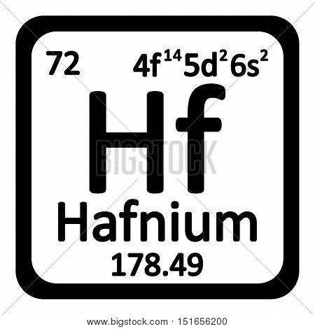 Periodic table element hafnium icon on white background. Vector illustration.