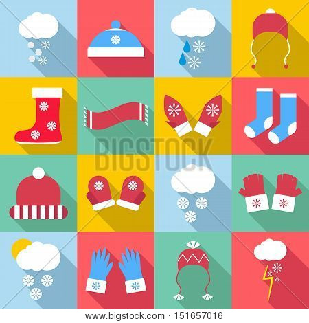 Winter clothes icons set. Flat illustration of 16 winter clothes vector icons for web