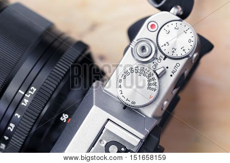 Close up vintage camera button of top panel