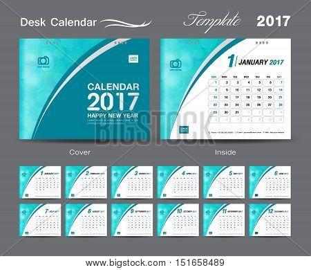 Desk Calendar 2017 template design set, cover Desk Calendar, Green cover design template