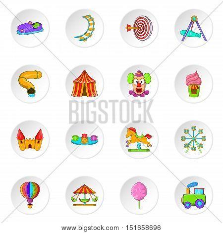 Amusement park icons set. Cartoon illustration of 16 amusement park vector icons for web