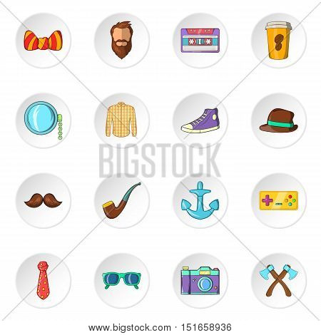 Hipster icons set. Cartoon illustration of 16 hipster vector icons for web