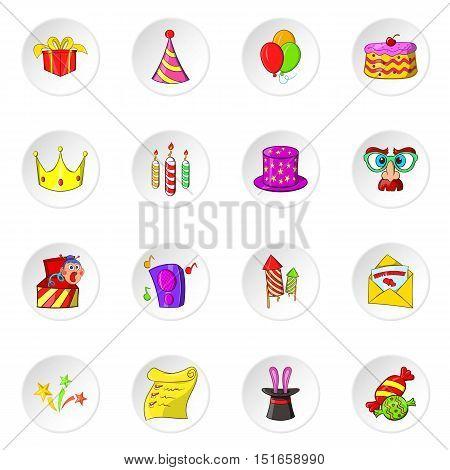Celebration icons set. Cartoon illustration of 16 celebration vector icons for web