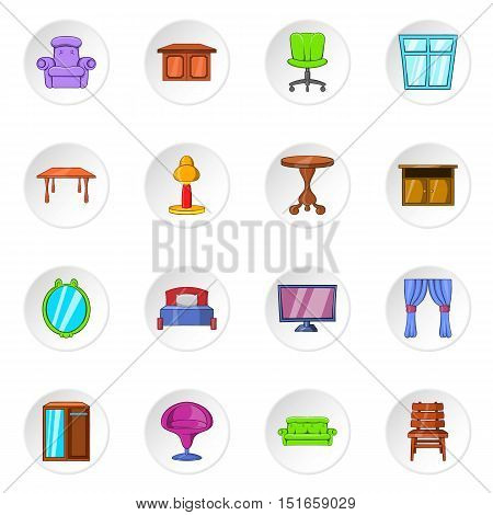 Furniture icons set. Cartoon illustration of 16 furniture vector icons for web