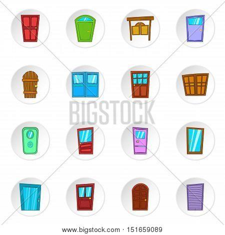 Door icons set. Cartoon illustration of 16 door vector icons for web