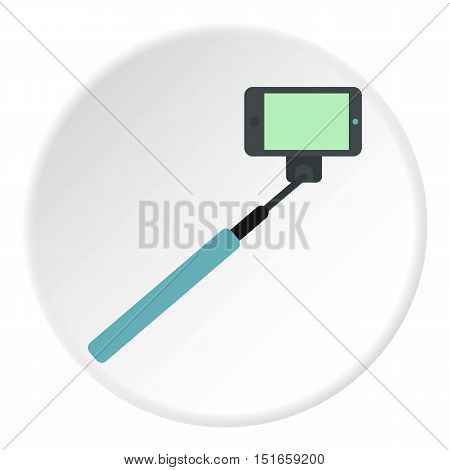 Selfie monopod stick icon. Flat illustration of phone vector icon for web design