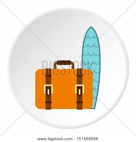 Surfboard and suitcase icon. Flat illustration of suitcase vector icon for web design